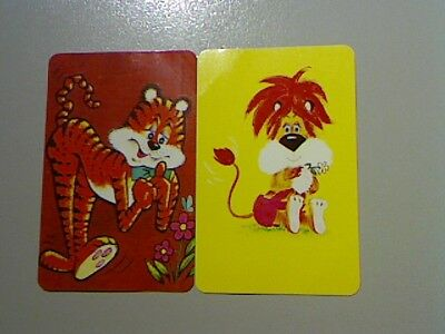 2 Swap/Playing Cards - Pair Cute Lion and Tiger (Blank Backs)#