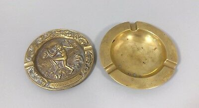 Antique pair brass ashtrays Chinese engraved dragon Cornish Piskie figural