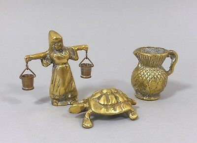 Vintage brass miniatures turtle jug ewer woman with water pails retro shabby