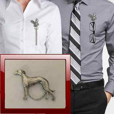 Greyhound PP-D22 Pewter Pin Brooch Drop Hoop Holder For Glasses,Pen,Jewellery