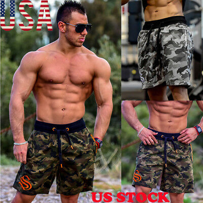 US STOCK Men Camo Training Casual Sport Fitness Gym Shorts Workout Sweatpant