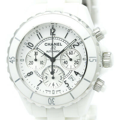 7d8263f963987 Polished CHANEL J12 Chronograph Ceramic Automatic Mens Watch H1007 BF306487