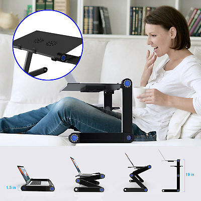 Adjustable Laptop Standing Desk Frame Sit Stand Table Office +Cooling Ventilated