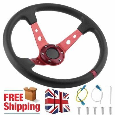 """NEW 14"""" 350mm Deep Dish Steering Wheel For Racing Drifting Red Spars Black PU RB"""