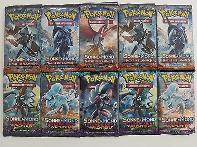 Pokemon Karten Booster Deutsch 10 Packs - Wächter u Nacht in Flammen