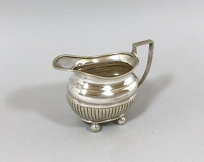 Antique Victorian silver plate small creamer milk jug half-reeded for bachelor