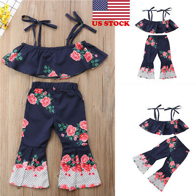 2PCS Toddler Kids Baby Girls Summer Outfit Clothes T-shirt Tops+Floral Pants Set