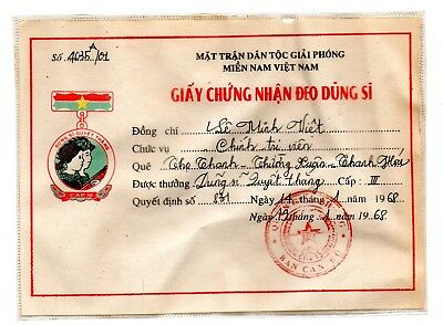North Vietnam-Certificate3rd Order Battle Award (CAPIII) citation