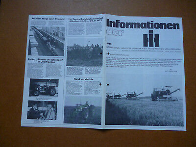 INTERNATIONAL HARVESTER COMPANY   Original alte Informationen der iH  3/75