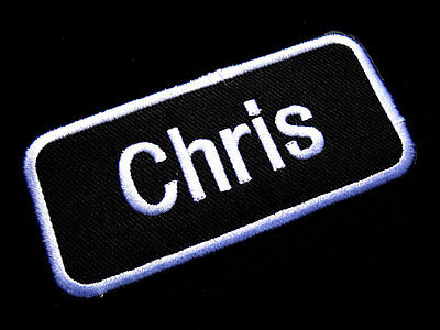 Name Tag Chris Embroidered Iron on Patch Free Shipping