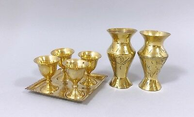 Vintage Indian brass engraved 2 small vases 4 cups sherry goblets on tray retro