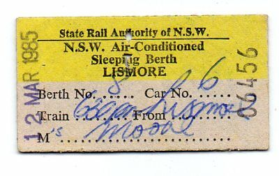 SRA NSW -Railway Ticket Air-Conditioned Sleeping Berth from Lismore