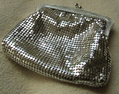 Lovely Vibrant Vintage Oroton West Germany Silver Mesh Purse
