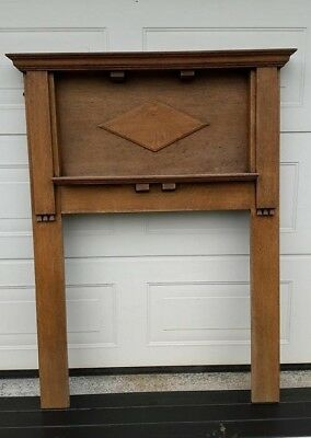 Fireplace Fire Surround Mantelpiece. 1950s ? Retro Vintage Solid Wood