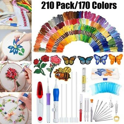 210 In 1 DIY Embroidery Needle Pen Knitting Sewing Tool Punch w/ 170 Threads