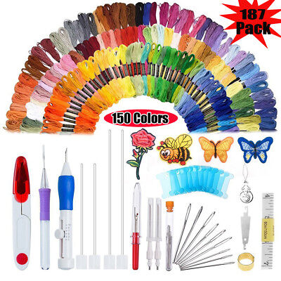 187In1 Magic DIY Embroidery Pen Knitting Sewing Tool Punch Needle+150 Threads