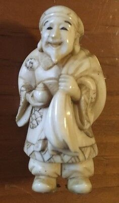 Very Rare Asian Miniature Carving Man With Bag Ivory Color Detailed Info Please
