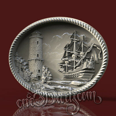 3D Model STL for CNC Router Artcam Aspire Lighthouse Ship Panel Cut3D Vcarve
