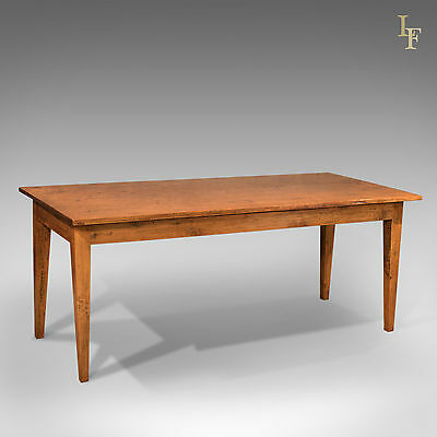 Antique Dining Table, 19th Century French Country Kitchen Oak, 6-8 Seater c.1890