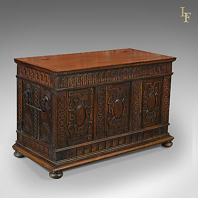 Antique French Coffer, Carved Walnut Plank Chest, 19th Century Trunk, c.1800