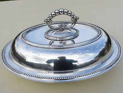 Antique Harrison Brothers & Howson Alpha Plate Silver Plated Beaded Entree Dish