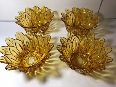VINTAGE , AMBER PRESSED GLASS ICECREAM  FRUIT BOWLS X 4, 1970's