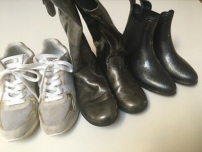 Girls KENNETH COLE Boots WITCHERY gum GUESS Gold high wedge sneakers shoes 3 4