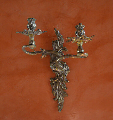 A pair of antique French solid bronze 2 armed wall sconces, acanthus foliage