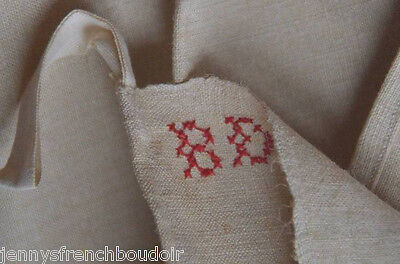 Antique French 19th century unused homespun French torchon, red BD monogram