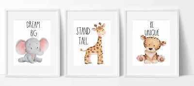Set of 3 Nursery/home wall prints watercolour animals leopard elephant giraffe