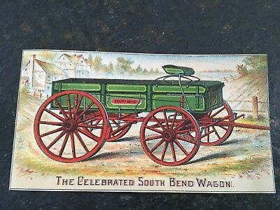 Advertising Victorian 1880's Trade Card The Celebrated South Bend Wagon