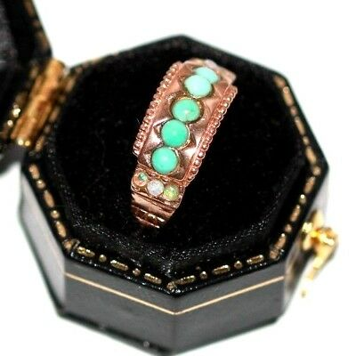 Edwardian rose 9 ct gold opal and turquoise antique ring vintage size P