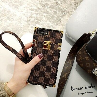 Luxury Famous Grid Leather Phone Back Case Cover for iPhone Xs Max Xr 6 7 8 Plus