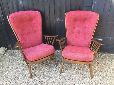 Good Quality Pair Of Ercol Windsor Evergreen High Back Easy Chairs / Armchairs
