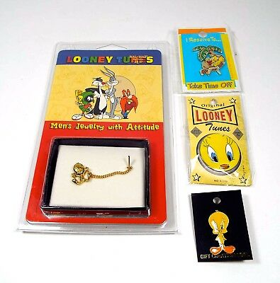 Vintage Looney Tunes Tweety Bird Jewelry Men's Kreisler Tie Tack + 3 Enamel Pins