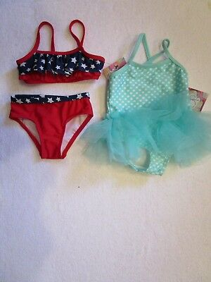 Infant Girl 6-9 Month Op 2 Pc Red/white/blue & Op 1 Pc Green/white Swimwear New