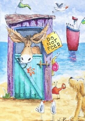 Watercolour ACEO Painting by JULIA Seaside, Beach Hut, Donkey, Dog, Snail