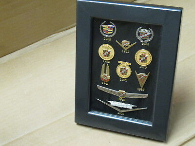 10 Cadillac Pins, Framed Collection 1902-2000 Emblems, GM Wreath & Crest Emblems