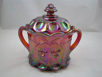 Mosser Carnival glass Red Cookie Jar Cherry pattern large and heavy