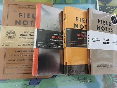 Field Notes Lot: Dime Novel Black Ice Utility Graph 10 Year Sealed