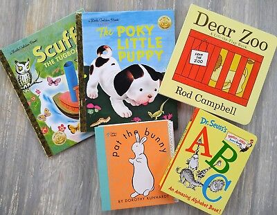 Baby Shower Gift - Set of 5 Baby Books - Golden Books, Dear Zoo, Pat the Bunny,