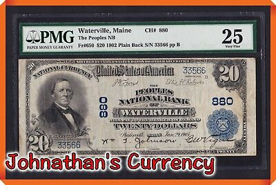 JC&C - Fr.650 1902 $20 PB The People NB Waterville , Maine - VF 25 by PMG
