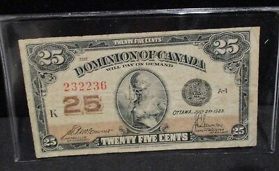 Dominion of Canada 1923 Twenty Five Cents Bank Note                 ENN COINS