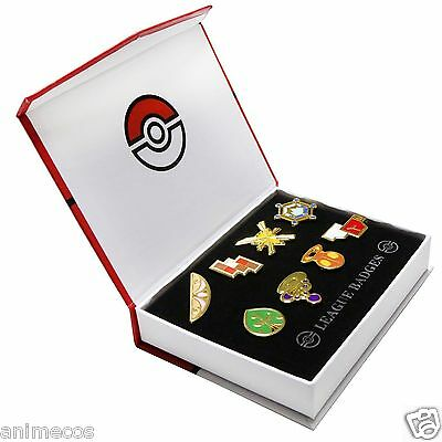 Pokemon Gym Badges Kalos Region League Pins Brooches 8pcs New in Box Collection