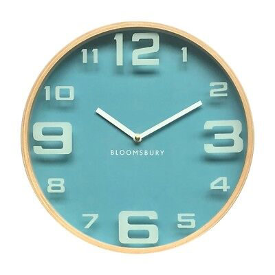 Vitus Wall Clock Natural Wood Case Blue Tone Dial White Finish Hands