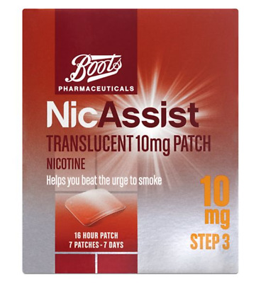 NicAssist Translucent 10mg Patch Step 3 Boots Parhmaceuticals 16 hours