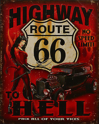 "Blechschild ""Highway to Hell"" Hot Rod Route 66 Pin Up Diner 25x20cm neu"