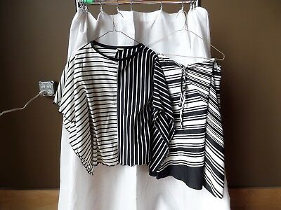 Vintage Estate Women's Skirt set polyester black/white stripes URSULA sz 13/14