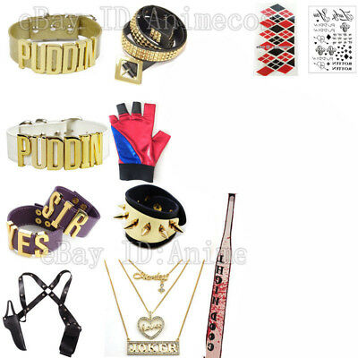Suicide Squad Harley Quinn Puddin Choker Necklace Bracelets Cosplay Accessories