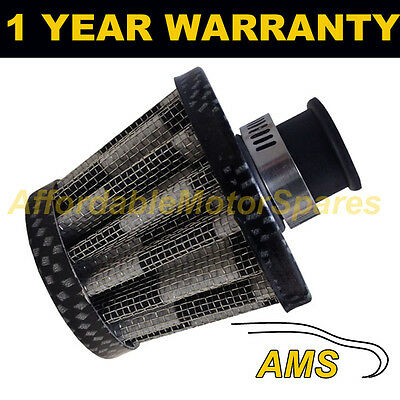 18mm AIR OIL CRANK CASE BREATHER FILTER FITS MOST VEHICLES CARBON EFFECT CONE